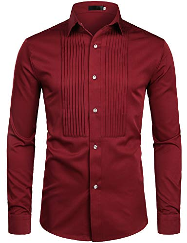 ZEROYAA Mens Slim Fit Long Sleeve Tuxedo Dress Shirts/Prom Performing Shirts Z54 Wine Red Large (Best Prom Looks Men)