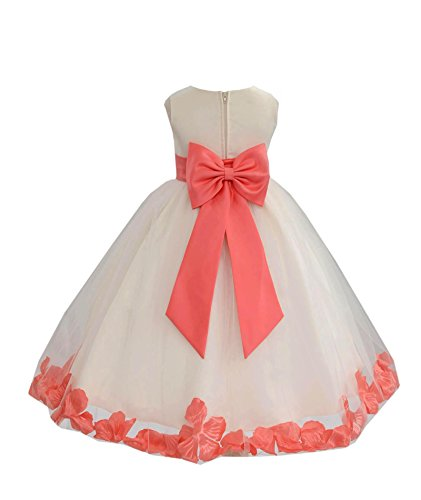 Wedding Pageant Flower Petals Girl Ivory Dress with Bow Tie Sash 302a 4 ()