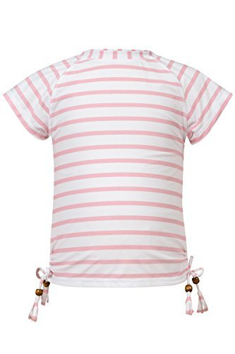 Snapper Rock Girls Short Sleeve Rash Top (Pink Stripe, 6) by Snapper Rock