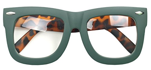 Vintage Inspired Geek Oversized Square Thick Horn Rimmed Eyeglasses Clear Lens (MATT GREEN 9906, - Plastic Mens Eyeglass Frames