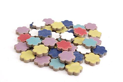 Milltown Merchants 3/4 Inch (10mm) Flower Shaped Shaped Mosaic Tile, 3 Pound (48 oz), Bulk Assortment of Flower Mosaic Tiles (750-900 Mosaic Tiles)