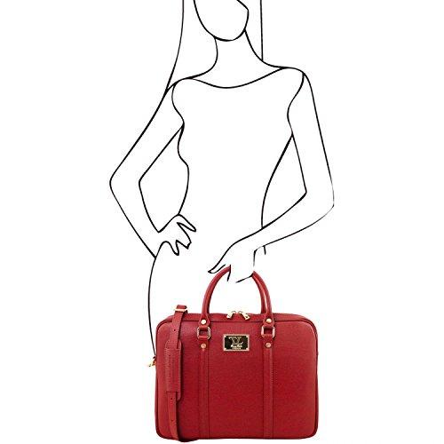 Tuscany Leather Prato Elegante porta folios y porta ordenador portátil en piel Saffiano Marrón oscuro Maletines en piel Rojo