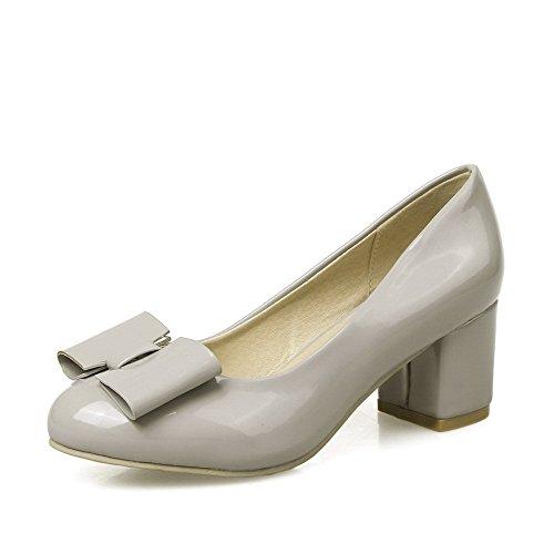 VogueZone009 Damen Rein PU Mittler Absatz Rund Zehe Ziehen auf Pumps Schuhe Grau