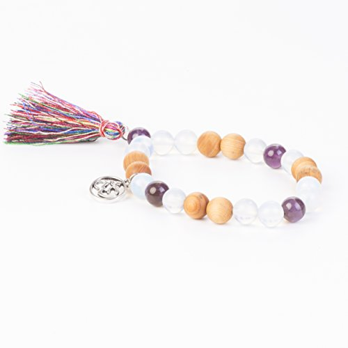 Tassel Mala Bracelet by Kuratif – Sandalwood and Amatheyst- Balance, Meditation, Deep Healing