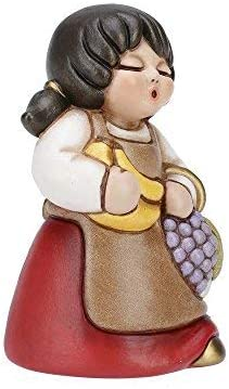 THUN – Statuina Presepe Donna con Frutta – Decorazioni Natale Casa – Linea Presepe Classico, Variante Rossa – Ceramica – 8 h cm