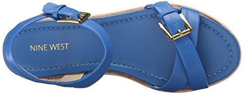 Nine West Confrence de la mujer vestido de cuero sandalias Azul