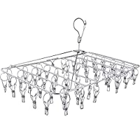 Fayleeko Clothes Drying Rack with Clips, Folding Stainless Steel Drying Hanger, Baby Hangers,Clothes Hangers for Drying Socks,Drying Towels, Diapers, Bras, Baby Clothes,Underwear