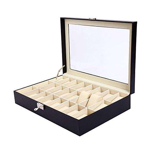 (9milelake Watch Box 24 Slots Men Black PU Leather Display Clear Top Jewelry Case Organizer)