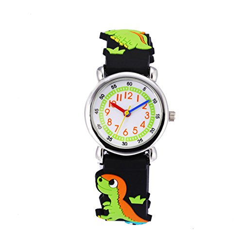Children Kids Toddler Watches Age 4-7 Time Teacher Watches, Cartoon Character 3D dinosaur Silicone Band Watches (Black - steel (Target Kids Watches)