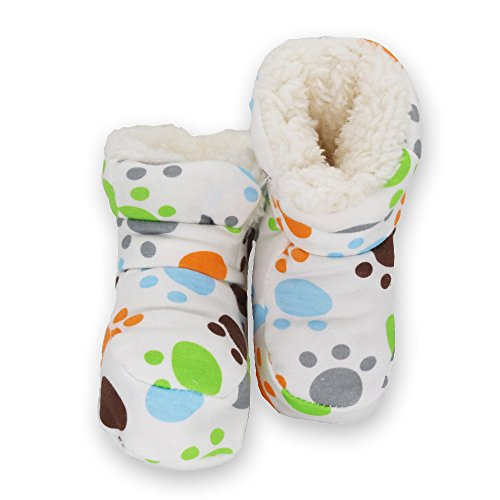 LUWU Baby Boy Girls Pure Cotton Snow Boots Warm Winter Infant Newborn Toddler Crib Shoes (Footprint)