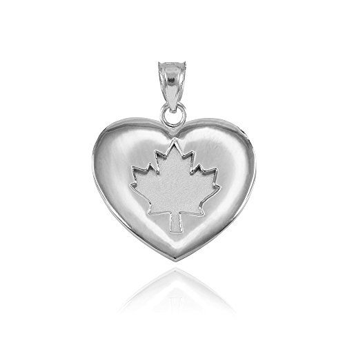 (925 Sterling Silver Canada Maple Leaf Heart Charm Pendant )