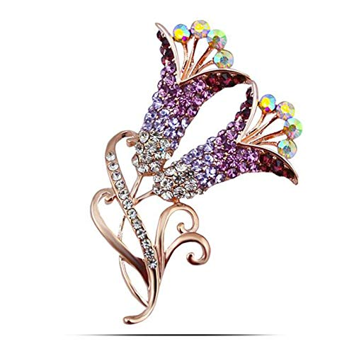 New Rhinestone Crystal Calla Lily Flower Brooches For Women Party Wedding Luxury Suit Hijab Charm Bijouterie purple ()