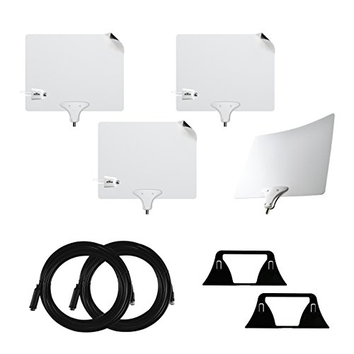 Mohu Mohu Suburbs Cord Cutting Premium 4-pack with three Leaf 50 Indoor Amplified TV Antenna, Leaf 30 Paper-thin Antenna, 30 foot coaxial cables and 2 antenna stands, 50 mile range, HDTV, 4K-ready price tips cheap