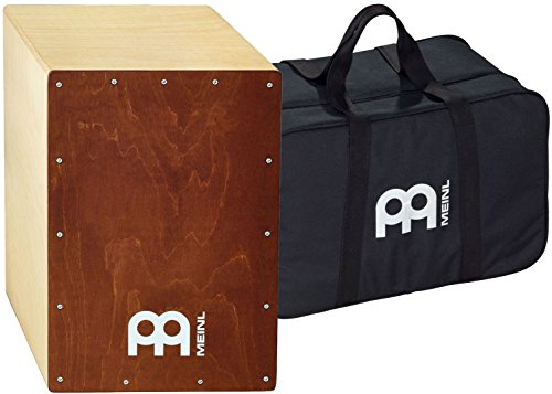 Meinl Percussion Cajon Box Drum with Internal Snares and Free Bag - MADE IN EUROPE - Baltic Birch Wood Full Size, 2-YEAR WARRANTY, Natural Body/Brown (BC1NTBR)