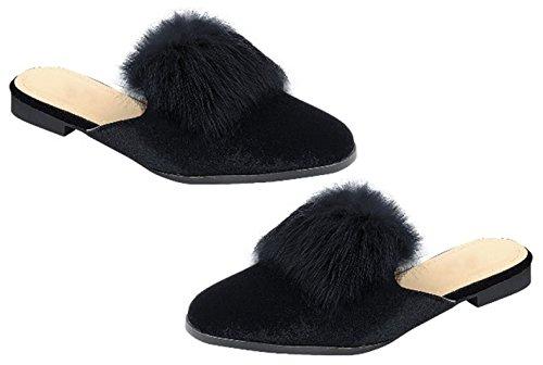 TravelNut Easter Sale Victoria Pointed Toe Fur Slip On Loafer Slipper Shoe For Women (Assorted Colors) Velvet Black zJouVX