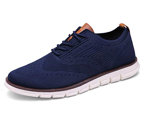 XIPAI Mens Wingtip Oxford Shoes Lace Up Fashion Sneakers Casual Walking Shoes Blue-02 US 8