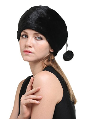 Vogueearth Women'Real Mink Fur Winter Warmer Flexible Berets Hat Black