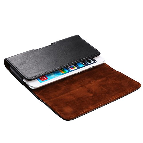 DFV mobile - Case Belt Clip Genuine Leather Horizontal Premium for =>      IPHONE 5C A1529 > Black