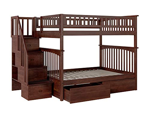 Columbia Staircase Bunk Bed with 2 Flat Panel Bed Drawers, Full Over Full, Antique Walnut ()