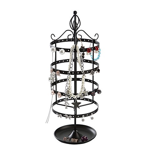 GiftWay 4 Tier Rotating Jewelry Tree Organizer Stand Tower with Ring Tray for Necklace and Earrings, Black