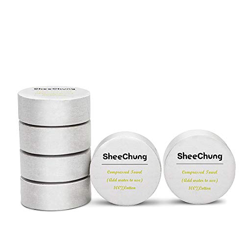 """SheeChung Cotton Compressed Towels Large-12""""x28"""" Reusable Pop-Up Towels for Camping,Travel,Sports,Home (6 Pack,6 Total Towels)"""