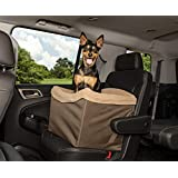 Solvit Dog Booster Seat with Tether for Car/Truck/SUV, Grey/Green