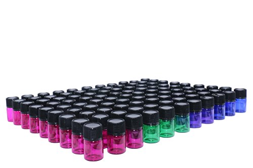Wresty 2 ml(5/8 dram) Essential Oil Bottle,100 Packs Blue Green Pink Purple Glass Vials with Orifice Reducers Mini Sample Bottles(3 dropper,stickers)