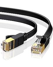 UGREEN Cat7 Ethernet Kabel Platt Guldpläterad RJ45 Nätverkskabel 10Gbps 600MHz Lan RJ45 FTP 8P8C Kabel Kompatibel med Cat6 Cat5e Cat5 för Router, Modem, Switch, PS5/PS4/PS3, TV BOX, Patchkabel etc. (1M)