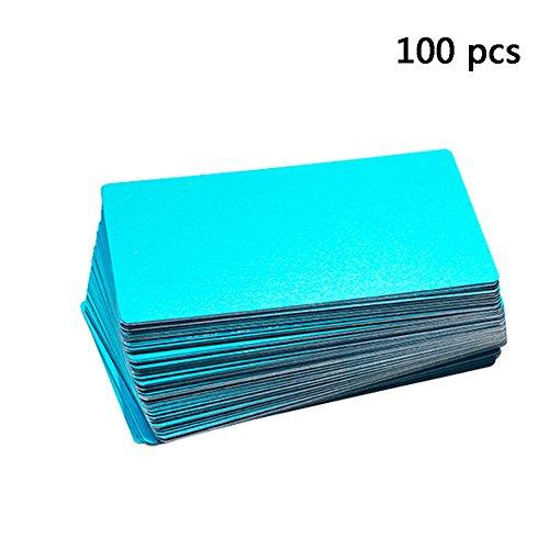 Frjjthchy 100 Pcs Business Cards Blanks Laser Engraving Business Credit Card (Blue)