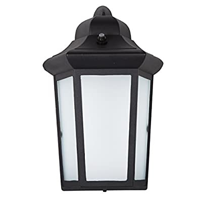 Maxxima LED Sconce Outdoor Wall Light, Black w/ Frosted Glass, Photocell Sensor, 600 Lumens, 3000K Warm White, Dusk to Dawn Sensor