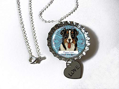 - Australian Shepherd Dog Bottlecap Silver Tone Necklace with Love Heart Charm