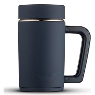 Isolation Tasse de bureau pour homme et femme Tasse d'eau en acier inoxydable 304Vacuum Cup avec couvercle Poignée Business Tasse