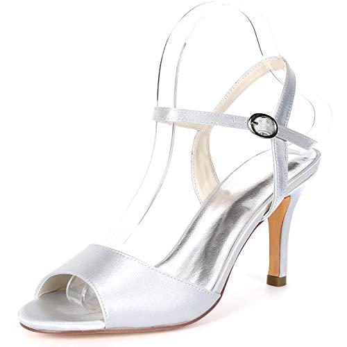 Buckle Femme Silver Party Taille Satin L Talons Ivoire Kitten Mariage De FY992 YC 5cm pour Chaussures 8 Hauts Evening amp; 4XXFqag1