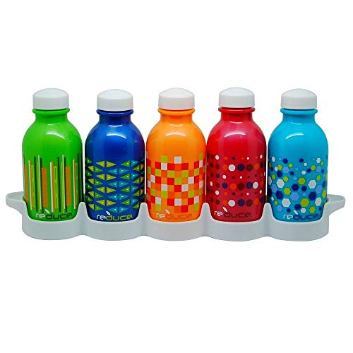 REDUCE WaterWeek Kids Reusable Water Bottles with Bottle Set Fridge Tray - Fill with Cold Drinks, Ideal for School Lunchboxes - 5pk, 10oz- BPA-Free Plastic, Leak-Proof Twist Cap - Assorted Colors
