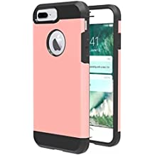 iPhone 8 plus Case,iBarbe Slim Extreme Heavy Duty Rugged Hybrid Impact 2 Color Shockproof Soft Rugged Hard PC Anti-slip Cover Armor Shock Absorption Protection for iPhone8 5.5 plus(rose/black)