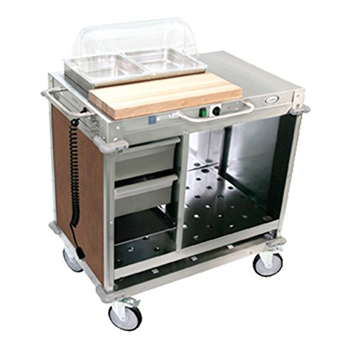 Cadco CBC-SDCX-L1 Small Mobile Demo/Sampling Cart Full Size Buffet Server with (2) Drawers, (3) Storage Shelves & (2) 2-1/2