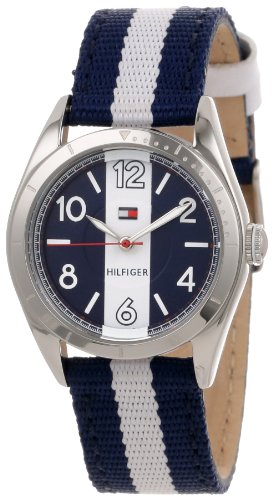 (Tommy Hilfiger Women's 1781295  Casual Sport Blue and White Nylon Strap 3-Hand Watch)