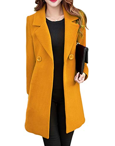 Jenkoon Women's Winter Outdoor Double Breasted Cotton Blend Pea Coat Jacket (Yellow, X-Large)