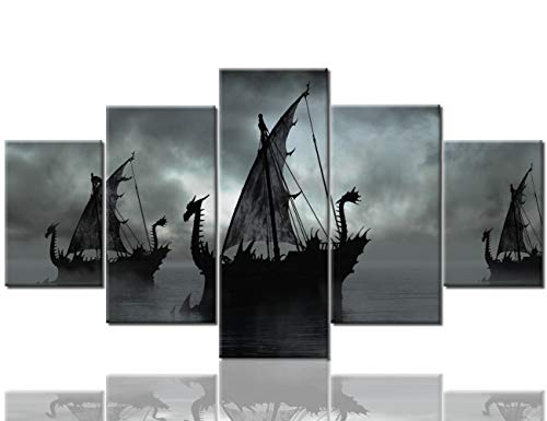 tings Wall Pictures for Living Room Sailing Ship Artwork 5 Panel Canvas Wall Art Modern Home Decorations Wooden Framed Stretched Ready to Hang Posters and Prints(60''Wx32''H) ()