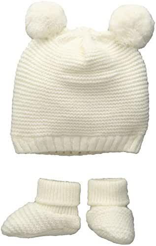 Toby & Company Baby Nygb Double Pom Garter Stitch Hat and Bootie 2 Pc Set