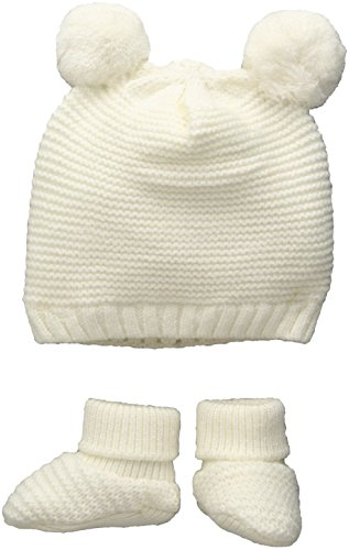 - TOBY Company Baby Nygb Double Pom Garter Stitch Hat and Bootie 2 Pc Set, Ivory, Newborn