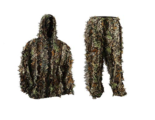 EAROOMZE Mens 3D Lightweight Hooded Camouflage Ghillie Breathable Hunting Suit -