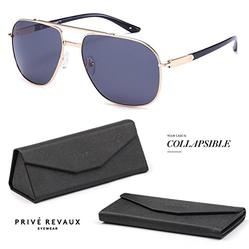 "PRIVE REVAUX ""The Dealer"" Handcrafted Designer Polarized Aviator Sunglasses (Gold)"