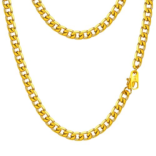 PROSTEEL Miami Cuban Link Necklace 18K Gold Plated Hiphop Summer Jewelry Hip Hop Chain Men Women Long Curb Chain Layered Layering Necklace