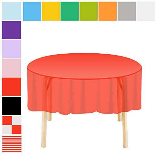 Etmury Plastic Tablecloth 6 Pack Disposable Round Table
