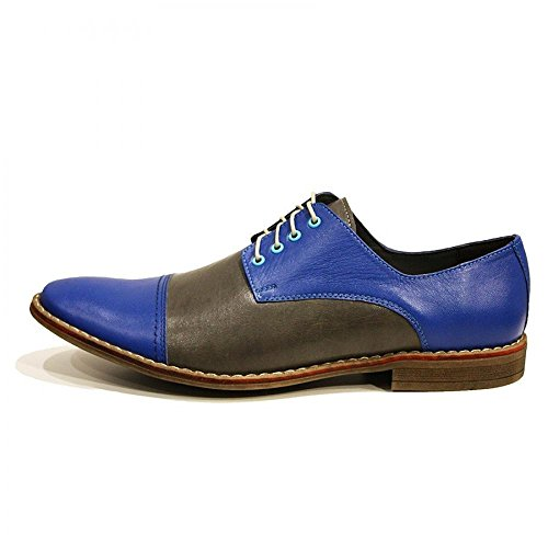 Modello Alessio - Handgemachtes Italienisch Leder Herren Blau Oxfords Abendschuhe - Rindsleder Weiches Leder - Schnüren