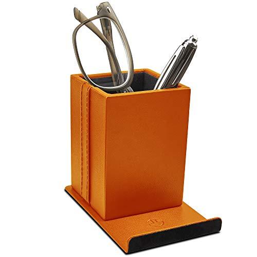 Optix 55 Elegant Glasses Holder - Premium Orange Faux Leather, Soft Velvet Lining, Non Skid Felt Bottom - Phone Eyeglass Holder Stand and Multipurpose Organizer for Eyewear, Pens and Office Supplies