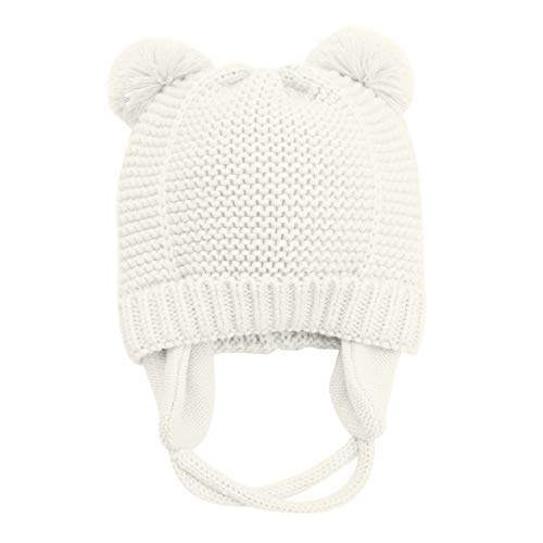 Earflap Hat Knitting Pattern - Winter Warm Earflaps Newborn Baby Hat Beanie Infant Toddler Kids Knit Hat Cap with Fleece Lined Unisex for Baby Boys Girls (M / 12-36 Months, White)