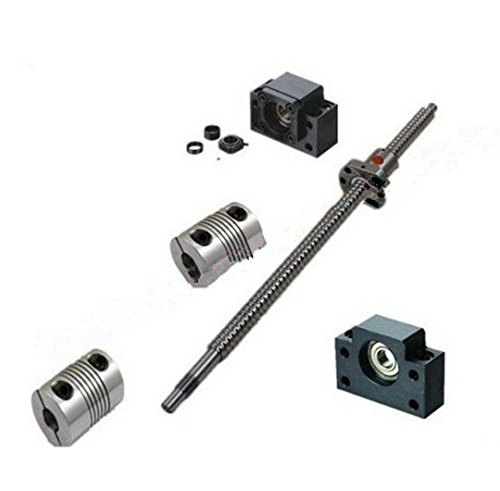 GOWE 25mm Linear Rolled Ball Screw 2505 BallScrews 1pc SFU2505 1350mm C7 + Single RM2505+BKBF15 BallNut for CNC Table end machining
