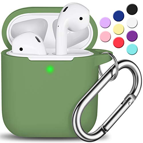 AirPods Case Cover with Keychain, Full Protective Silicone AirPods Accessories Skin Cover for Women Girl with Apple AirPods Wireless Charging Case,Front LED Visible-Olive Green
